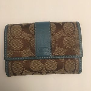 Coach Signature C Logo Trifold Brown & Blue Wallet